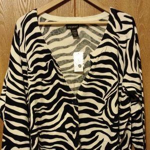 Lane Bryant Size 26/28W Zebra Striped V-neck Cardi